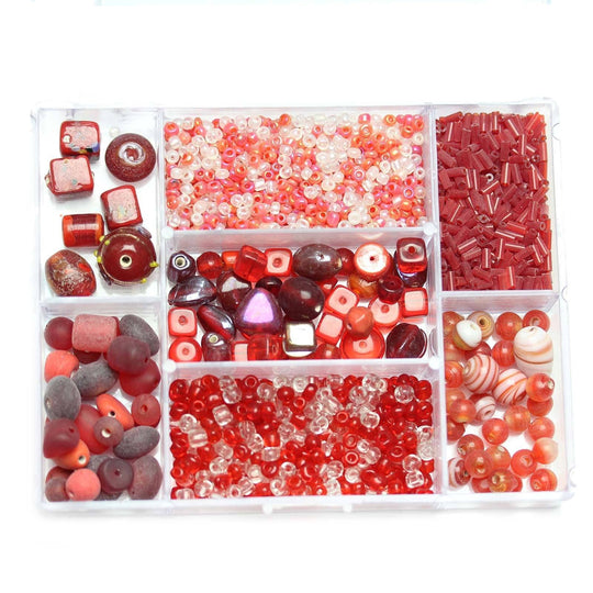 Red & Crystal Glass Mixes in StorageKit by Bead Gallery