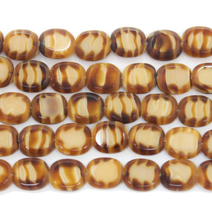 Bead, Beads, Glass, Glass Bead, Glass Beads, Czech, Czech Bead, Czech Beads, Amber, Topaz, Rectangle, Rectangle Bead, Rectangle Beads, Striped, 12x14mm, 12mm, 14mm