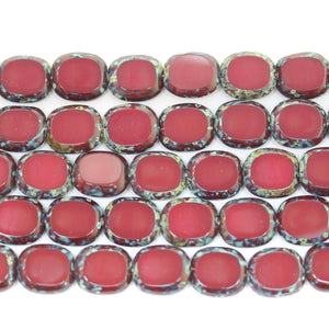 Bead, Beads, Glass, Glass Bead, Glass Beads, Czech, Czech Bead, Czech Beads, Red, Rectangle, Rectangle Bead, Rectangle Beads, Travertine, 12x14mm, 12mm, 14mm