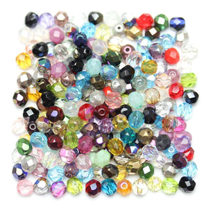 Czech Multi Glass Fire Polished Faceted Round 6mm