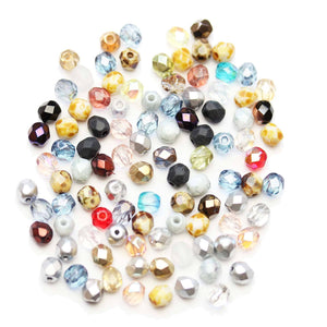 Czech Glitz Mix Glass Fire Polished Faceted Round 4mmBeads by Halcraft Collection