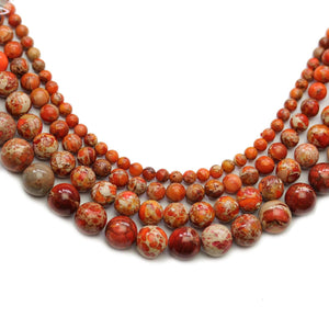 Multi-pack - Orange Dyed Imperial Jasper Stone Round Beads (sizes 4mm, 6mm, 8mm, 10mm)Beads by Halcraft Collection