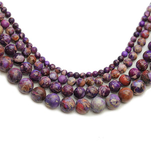 Multi-pack - Purple Dyed Imperial Jasper Stone Round Beads (sizes 4mm, 6mm, 8mm, 10mm)Beads by Halcraft Collection