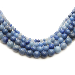 Multi-pack - Blue Dyed Aventurine Stone Round Beads (sizes 4mm, 6mm, 8mm, 10mm)Beads by Halcraft Collection