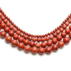 Multi-pack - Red Jasper Stone Round Beads (sizes 4mm, 6mm, 8mm, 10mm)Beads by Halcraft Collection