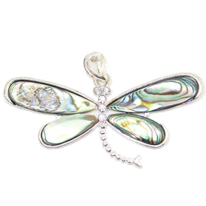 Abalone Dragonfly with Rhinestones 32x60mm Pendant by Bead Gallery