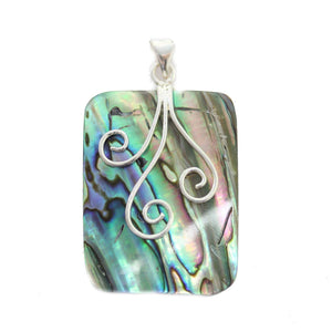 Abalone Rectangle with Wire 29x38mm Pendant by Bead Gallery