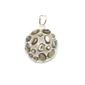 Abalone in Metal Round 27mm Pendant by Halcraft Collection
