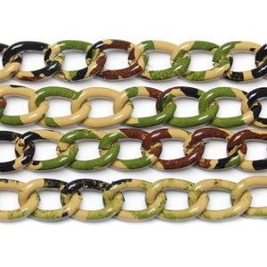 Chain, Chains, Metal, Metal Chain, Painted, Painted Chain, Cammo, Black, Green, Tan, Black Chain, Green Chain, Tan Chain, 18in, 18 inches, 9.5mm, 9mm, 10mm, Link Chain