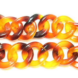 Tortoiseshell Acrylic Chain 22mm  WideChain by Bead Gallery