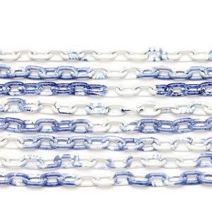Chain, Chains, Metal, Metal Chain, Painted, Painted Chain, Blue, White, Blue Chain, White Chain, 24in, 24 inches, 4.4mm, 4mm, Link Chain