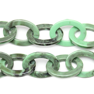 Chain, Chains, Acrylic, Acrylic Chain, Green, Green Chain, 14in, 14 inches, 27mm, Link Chain