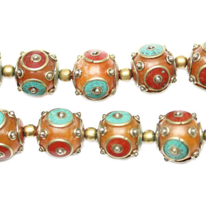 Bead, Beads, Resin, Resin Bead, Resin Beads, Metal, Metal Bead, Metal Beads, Round, Round Bead, Round Beads, Tibet, Tibet Bead, Tibet Beads, Tibetan, Tibetan Bead, Tibetan Beads, Prayer Bead, Prayer Beads, Amber, Bronze, Aqua, Red, 15mm