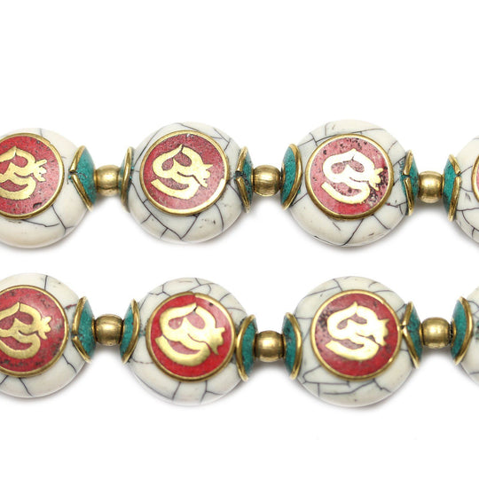 Tibetan Resin & Metal Prayer Beads 11x17mm