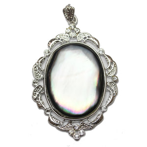 Pendant, Pendants, Shell, Shell Pendant, Shell Pendants, Black Lip Shell, Black Lip Shell Pendant, Oval, Oval Pendant, Oval Pendants, Black, White, Silver, 38x55mm, 38mm, 55mm, Mosaic