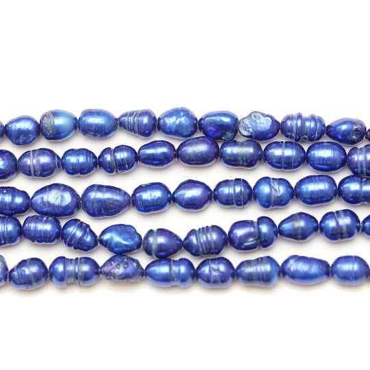 Blue Dyed Fresh Water Pearls Rice (Hole Through Length) Sizes VaryBeads by Halcraft Collection