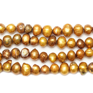 Amber Dyed Fresh Water Pearls Potato (Hole Through Width) Sizes Vary
