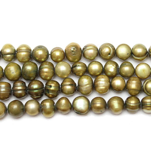 Bead, Beads, Freshwater Pearl, Freshwater Pearls, Pearl, Pearls, Pearl Bead, Pearl Beads, FWP, Dyed Pearls Bead, Fresh Water Pearl, Fresh Water Pearls, Green, Oval, Oval Bead, Oval Pearl, Potato, Potato Pearl, 6mm, 7mm, 8mm, 35123