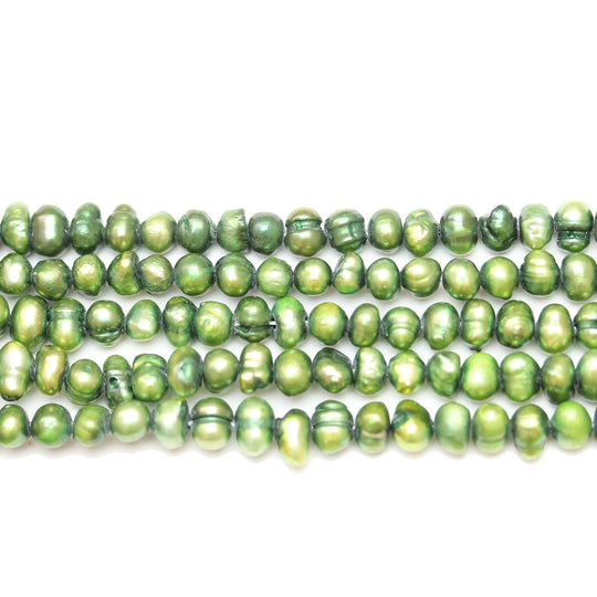 Green Dyed Fresh Water Pearls Potato (Hole Through Width) Sizes VaryBeads by Halcraft Collection