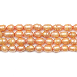 Peach Dyed Fresh Water Pearls Rice (Hole Through Width) Sizes Vary