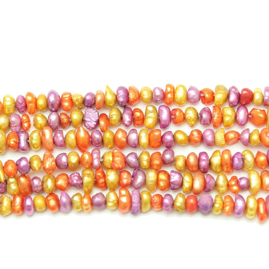 Multi Dyed Fresh Water Pearls Potato (Hole Through Width) Sizes Vary
