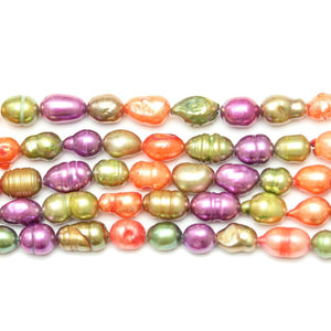 Multi Dyed Fresh Water Pearls Rice (Hole Through Length) Sizes Vary