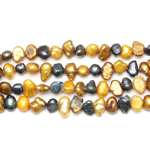 Multi Dyed Fresh Water Pearls Potato (Hole Through Width) Flat Back Sizes Vary