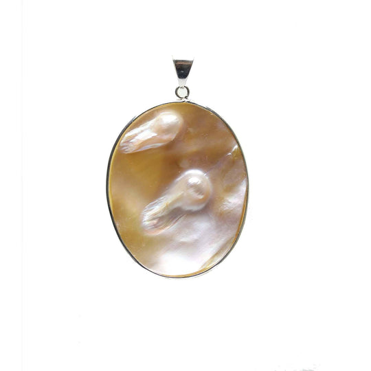 Natural White Mother of Pearl with Metal PendantPendant by Bead Gallery