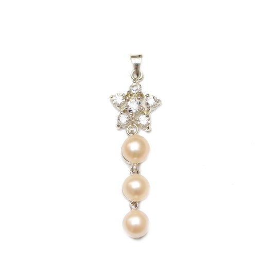 Rose Dyed Fresh Water Pearl Pendant with Metal and RhinestonePendant by Halcraft Collection