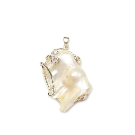 Natural White Fresh Water Pearl Pendant with Metal and RhinestonePendant by Halcraft Collection