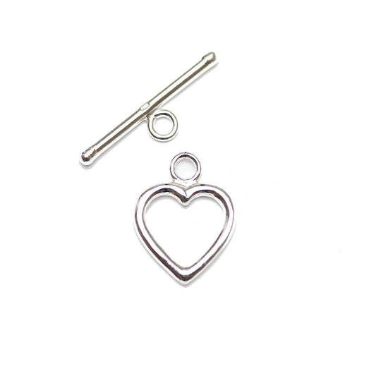 .925 Silver Basic Heart Toggle Set 14mm Findings by Bead Gallery