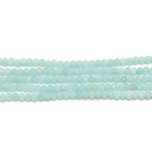 Precious Gemstone Natural Brazillian Amazonite (A Quality) Faceted Graduated 2.2x2.9mm  RondellsBeads by Halcraft Collection