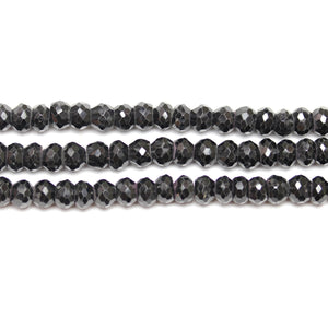 Precious Gemstone Natural Brazil Black Spinel Faceted (A Quality) RondellsBeads by Halcraft Collection
