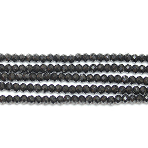 Precious Gemstone Natural Black Spinel (C Quality) Faceted RondellsBeads by Halcraft Collection