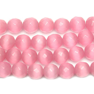 Pink Faceted Cat's Eye Glass Round 12mm Beads by Halcraft Collection