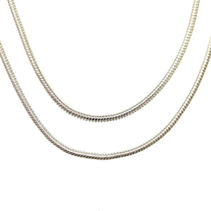 Chain, Chains, Metal, Metal Chain, Silver Plated, Silver Plated Chain, Silver, Silver Chain, 36in, 36 inches, 1.2mm, 1mm, Snake Chain