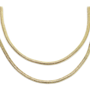 Gold Tone Plated Metal Snake Necklace Chain 1.2mm Wide with 2 inch Extension at ClaspChain by Halcraft Collection