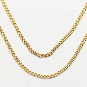 Gold Tone Plated Metal Flat Loop Necklace Chain 1.4mm  Wide with 2 inch Extension at ClaspChain by Halcraft Collection