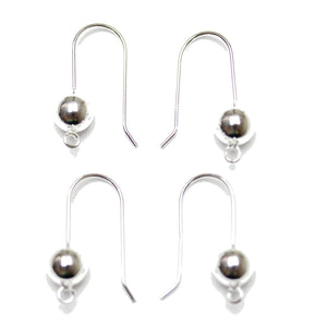 .925 Silver French Ear Wire with 7mm  Ball & LoopFindings by Halcraft Collection