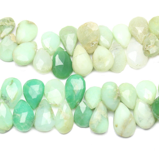 Faceted Natural Green Peruvian Opal Teardrops Top Hole 8x10-10x14mm