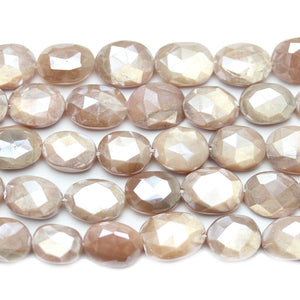 Faceted Natural Moonstone with Luster Flat Oval 7x9-9x12mm