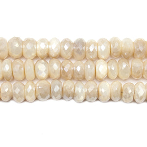 Bead, Beads, Semi-precious, Semi-precious Bead, Semi-precious Beads, Stone, Stone Bead, Stone Beads, Semiprecious, Semiprecious Bead, Semiprecious Beads, Faceted, Faceted Stone, Luster, Moonstone, Natural, Natural Moonstone, Rondell, Rondell Bead, Rondell Beads, White, 3x8mm-7x10mm, 3mm, 7mm, 8mm, 10mm