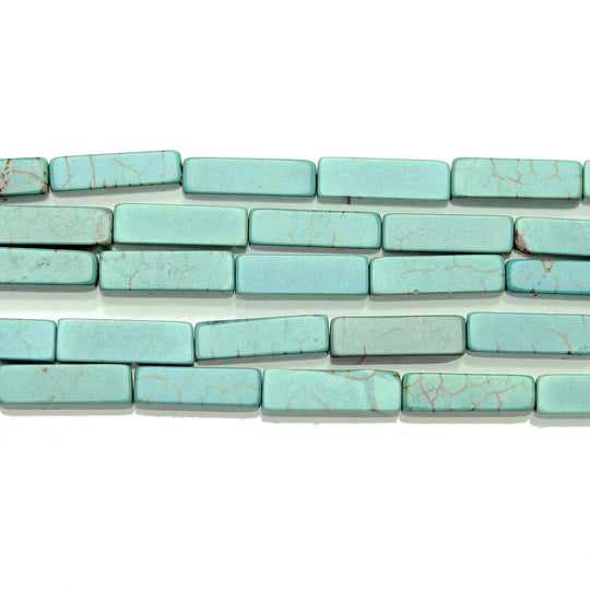 Semi Precious Howlite Dyed Turquoise 4x12mm  Rectangle
