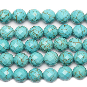 Semi Precious Howlite Dyed Turquoise 12mm  Faceted Round