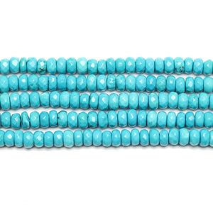 Semi Precious Howlite Dyed Turquoise Faceted Rondell 2x4mm