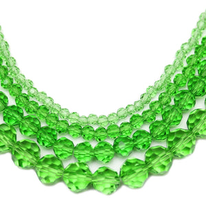 Multi-pack - Glass Faceted Round Green (sizes 3mm , 4mm , 6mm , 8mm )