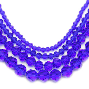 Multi-pack - Glass Faceted Round Dark Sapphire (sizes 3mm , 4mm , 6mm , 8mm )Beads by Halcraft Collection