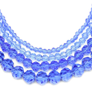 Multi-pack - Glass Faceted Round Sapphire (sizes 3mm , 4mm , 6mm , 8mm )Beads by Halcraft Collection