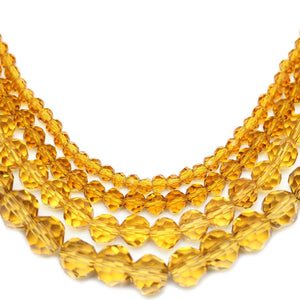 Multi-pack - Glass Faceted Round Light Amber (sizes 3mm , 4mm , 6mm , 8mm )Beads by Halcraft Collection