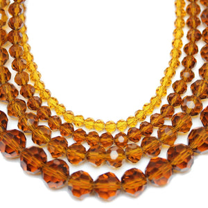 Multi-pack - Glass Faceted Round Amber (sizes 3mm , 4mm , 6mm , 8mm )Beads by Halcraft Collection